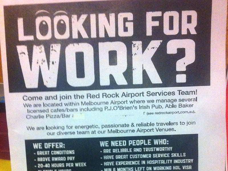 Als Bartender am Melbourne Airport - Workandtravel.Reisebine.de